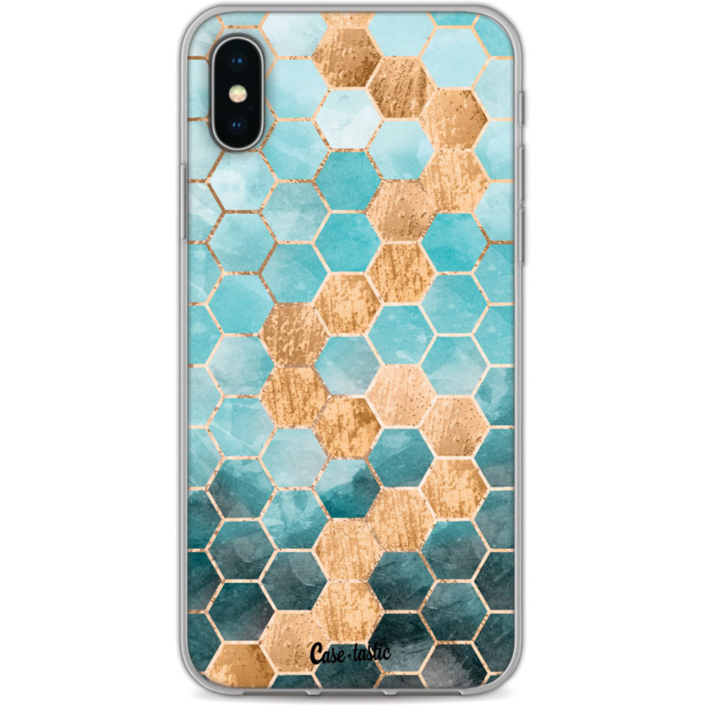 Casetastic Softcover Apple iPhone X / XS - Honeycomb Art Blue